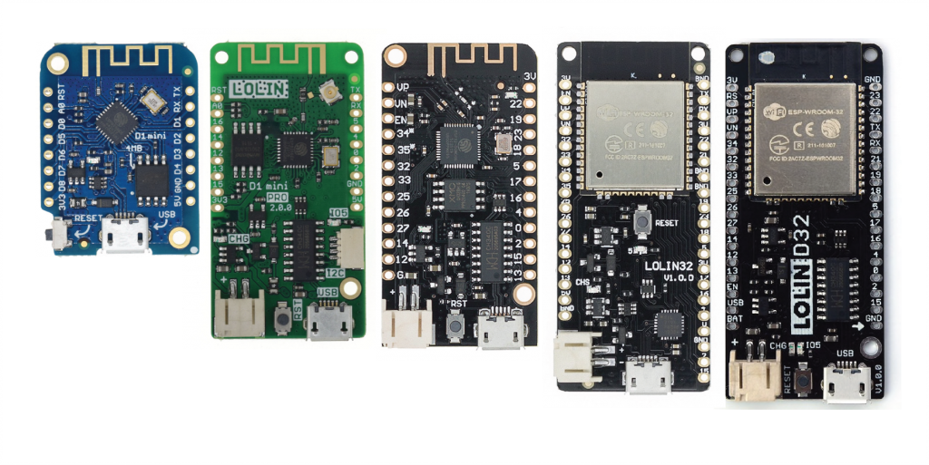 comparison of different LOLIN and WEMOS boards